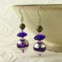 purple blue and green bead earrings