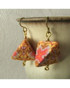 orange kaleidoscope humbug earrings