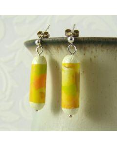Yellow macaroni on sterling silver stud earrings