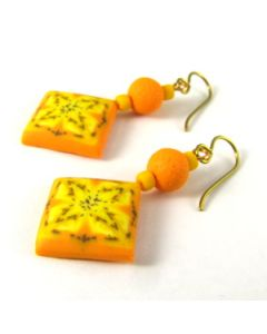Yellow and orange kaleidoscope diamond earrings