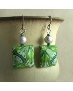 Green kaleidoscope and silver bead earrings on titanium hooks