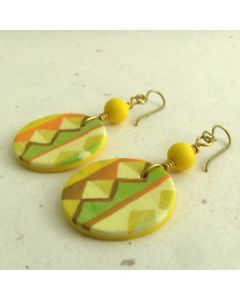 yellow zigzag polymer clay earrings