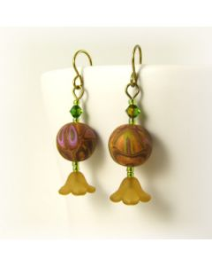 Lime and bronze bead earrings with lucite flowers and polymer clay art beads