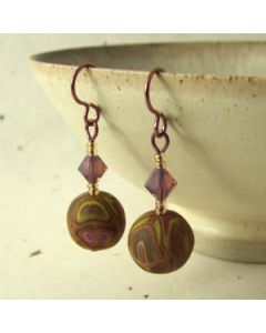 Broze green and purple earrings