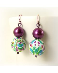 polymer clay and purple glass pearl earrings