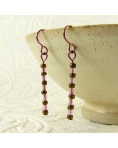 pink and bronze niobium earrings