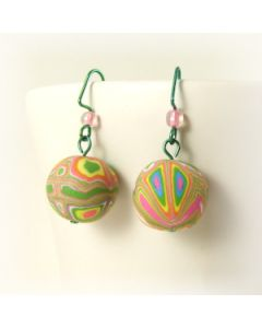 Funky pink and green bead earrings on hypoallergenic niobium hooks