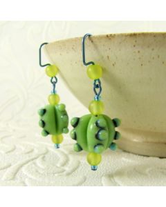 bumpy green bead earrings