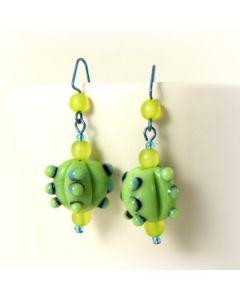 bumpy green bead earrings