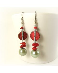 Long red and grey dangle earrings with titanium hooks