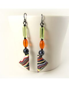 Extra long faux fordite earrings with hypoallergenic hooks