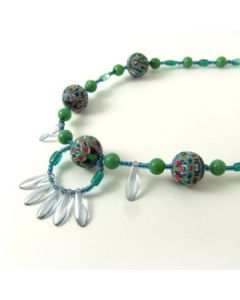 multicolour and green necklace