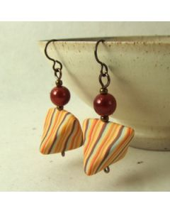 orange pinstripe with red bead earrings