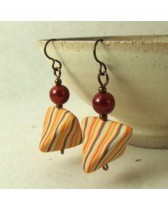 orange pinstripe with red bead earrings
