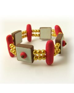 Red brown and beige retro bracelet