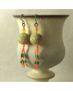 multicolour earrings with silk tassel