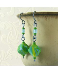 blue and green marble cube long earrings