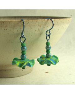 blue and green tutu earrings