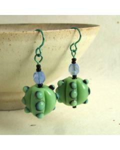 green blue and black bumpy bead earrings
