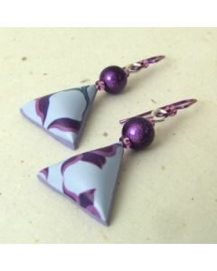 violet flower and miracle bead earrings