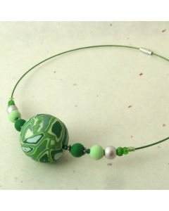 green chunky bead choker necklace