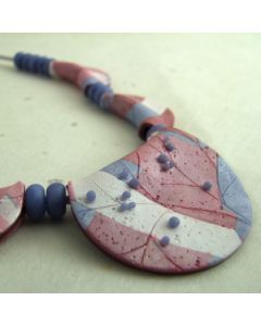 Pearlescent pink and blue grey fold bead necklace