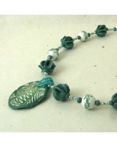 green seed pod bead necklace