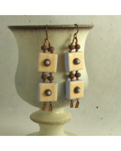 retro tile peach on brown ribbon earrings