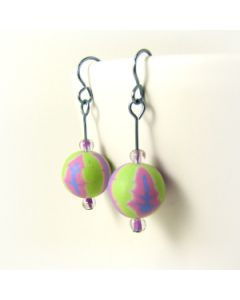 green blue and pink pastel earrings