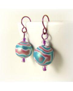 pink and blue wood grain bead earrings