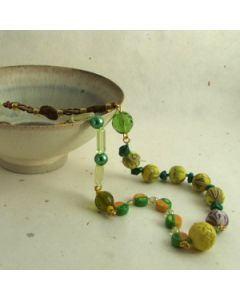 yellow green and brown oddment necklace