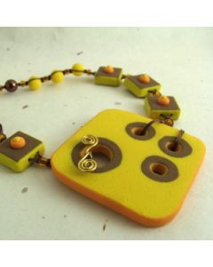 Retro inspired yellow and brown polymer clay necklace