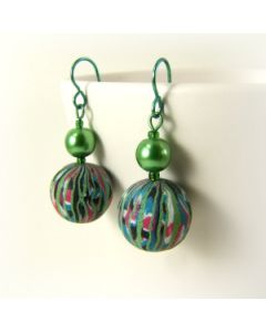 stained glass and green pearl earring
