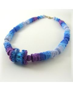 Blue and purple rustic effect polymer clay bead necklace