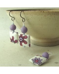 lilac flower bead earrings