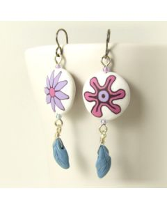 reversible flower bead earrings with leaf