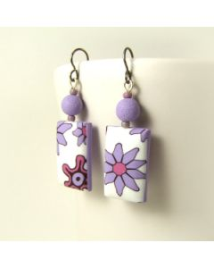 rectangular floral earrings