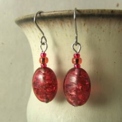 red crackle bead earrings