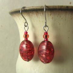 red crackle bead earrings