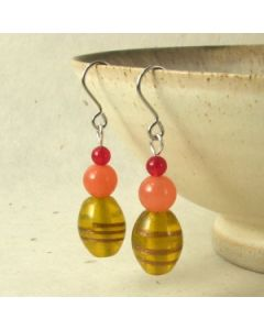 yellow orange and red glass bead earrings