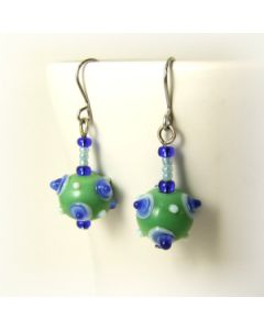 blue and green bumpy bead earrings