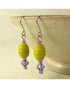 yellow and purple swarovski crystal bead earrings