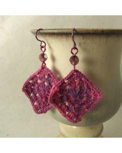 magenta crochet earrings