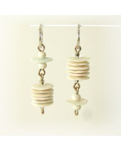 white polymer clay and silver hoop earrings