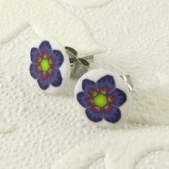 blue flower with green centre stud earrings