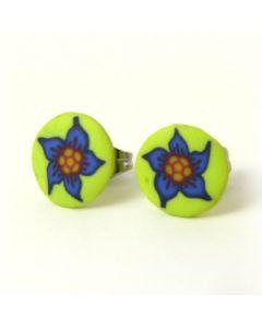 blue flower on yellow background stud earrings